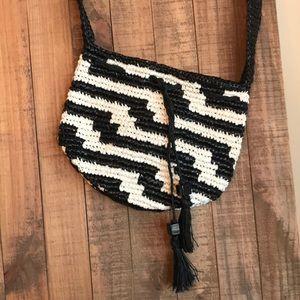 J Crew black and white geometric drawstring bag